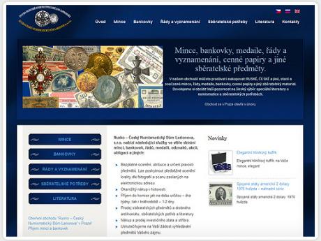 Сайт для нумизматического дома в Праге