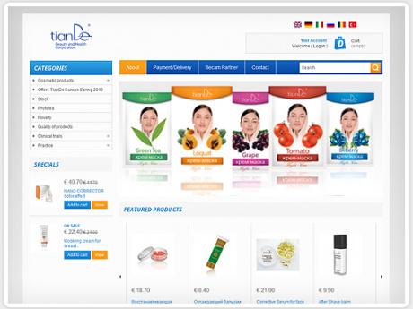 Интернет-Магазин по продаже косметики TianDe в Европе